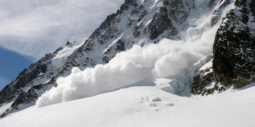 Avalanche in the mountains