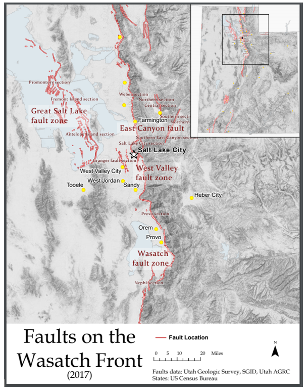 Map of the faults on the Wasatch Front