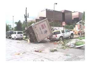 Tornado damage in Salt Lake City from 1999